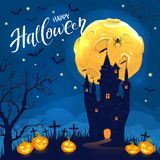 Lettering Happy Halloween with castle and smiling pumpkins. Lettering Happy Halloween on night sky background. Dark castle with smiling pumpkins, spider, Moon vector illustration