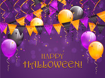 Lettering Happy Halloween with pennants and balloons. Lettering Happy Halloween on violet background with multicolored pennants, balloons, streamers and confetti Stock Images