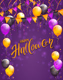 Lettering Happy Halloween with pennants and balloons on violet background. Text Happy Halloween on violet background with multicolored balloons, pennants Royalty Free Stock Photos