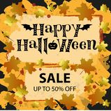Happy Halloween sale up to 50 percent off in black on background with frame, golden and orange maple leaves. Lettering of Happy Halloween sale up to 50 percent stock illustration