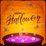 Halloween cauldron with purple potion and spiders on orange back. Lettering Happy Halloween with spiders and spider web on orange background. Cauldron with Royalty Free Stock Photos