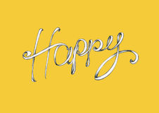 Lettering Happy. Illustration of the word Happy on a yellow background Stock Photography
