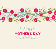 Lettering Happy Mothers Day. Hand-drawn card with flower Stock Image