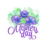 Lettering Happy Mothers Day. Hand-drawn card with flower. Vector illustration EPS 10 Royalty Free Stock Images