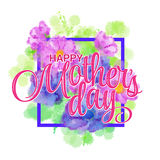 Lettering Happy Mothers Day. Hand-drawn card with flower. Vector illustration EPS 10 Royalty Free Stock Photos