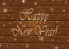Lettering Happy New Year on the background of boards. Illustration of lettering Happy New Year on the background of boards Stock Image