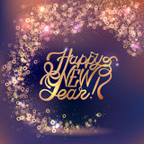 Lettering Happy New year on blur bokeh background. Shine light texture Royalty Free Stock Photography