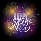 Lettering Happy New year on colorful fireworks background. Shape of text same as Xmas ball Royalty Free Stock Image