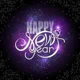 Lettering Happy New year on colorful glowing sparkles background. Shape of text same as Xmas ball Royalty Free Stock Image