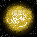 Lettering Happy New year on golden glitter background. Shape of text same as Xmas ball Royalty Free Stock Images