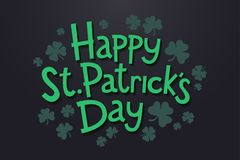 Lettering Happy Saint Patrick`s day with clover leaves. Isolated objects on dark background. Design concept for poster, invitation, greeting card, party stock illustration