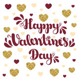 Lettering Happy Valentines Day on background with hearts. Vector illustration for Valentine`s Day. Stock Image