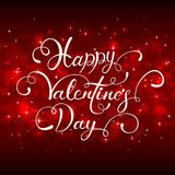 Lettering Happy Valentines Day with hearts on red background Stock Photos