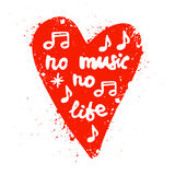 Lettering in heart no music no life. Royalty Free Stock Photos