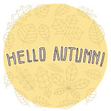Lettering Hello Autumn banner template. Minimalistic flat line. Lettering Hello Autumn banner template. Minimalistic flat line banner, poster or flyer template Royalty Free Stock Photos