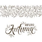 Lettering Hello Autumn with ornate elements Stock Photography