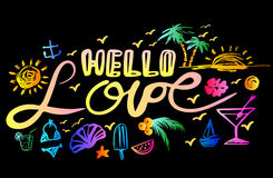 Lettering hello love Stock Photography