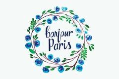 Lettering Hello Paris frame watercolor flowers. Watercolor illustration. For Art, Print, Web design Stock Images