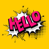 Lettering hello, positive label balloon Stock Image