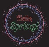 Lettering Hello, Spring with a pattern of leaves on a black background. Drawing chalk on a blackboard. Vector greeting card for your design Royalty Free Stock Images