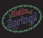 Lettering Hello, Spring with a pattern of leaves on a black background. Drawing chalk on a blackboard. Vector greeting card for your design Stock Photography