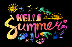 Lettering hello summer Royalty Free Stock Photos