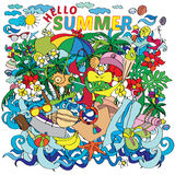 Lettering hello summer with decorative elements on white Royalty Free Stock Photos