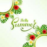Lettering Hello Summer with flowers and palm leaves Stock Photography
