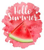 Lettering hello summer. Watermelon vector print Stock Images