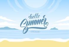 Vector illustration: Lettering of Hello Summer Vacation on Sunny ocean beach background. Paradise landscape. Lettering of Hello Summer Vacation on Sunny ocean Stock Photography
