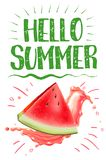 Lettering hello summer. Watermelon vector print Royalty Free Stock Images
