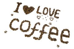 Lettering `I love coffee` made of roasted coffee beans. Isolated on a white background Stock Image