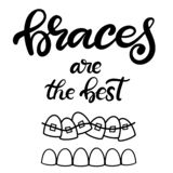 Vector lettering illustration about orthodontic treatment and dental healthcare with the image of braces on teeth. EPS10. Lettering illustration about dental royalty free illustration
