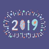 2019 lettering illustration papercut style. Flat hand drawn cartoon happy new year design. New years Eve 2019. For web post, royalty free illustration