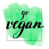 Lettering inscription go vegan. stock illustration