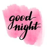 Lettering inscription good night. Watercolor vector illustration