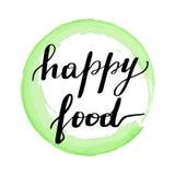 Lettering inscription happy food. stock illustration