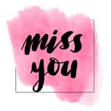 Lettering inscription miss you. Valentine`s royalty free illustration