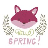 Lettering with pink fox portrait. Lettering inscription with pink fox portrait hello spring with plants Stock Photo