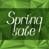 Lettering with the inscription `Spring sale` on a green abstract background. Royalty Free Stock Image