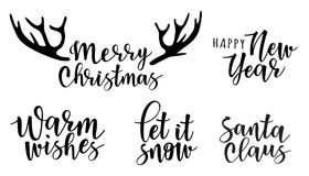 Lettering inscription to winter holiday design. Can be used for invitation, posters, cards and etc Royalty Free Stock Photos