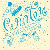 Winter. Lettering with the inscription winter, written by hand in the style of sketching Royalty Free Stock Image