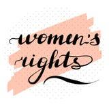 Lettering inscription women`s rights. Feminist stock illustration
