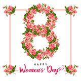 8 March Happy Womens day, rose flower greeting card. Lettering for the International Women`s Day with text and number 8 March on roses in frame Stock Images