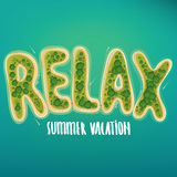 Lettering of islands to form the word relax stock illustration