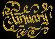 Lettering for January. January lettering font for heading background in gold Stock Photography