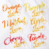 Lettering juice drops Stock Images