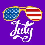 Lettering july glasses usa flag background flat. Style Royalty Free Illustration