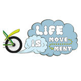 Lettering. Life is movement. Words on dust cloud Royalty Free Stock Photo