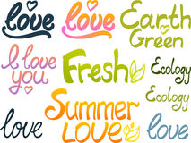 Lettering: love, fresh, summer love... Stock Images